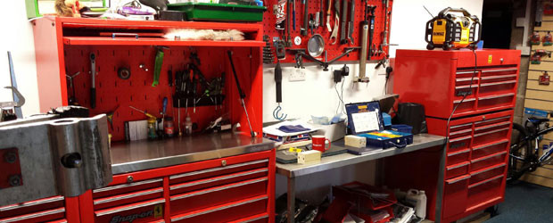 Workshop cabinet filled with various tools